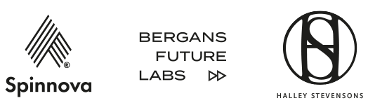 Spinnova, Bergans future labs and Halley Stevenspns logos